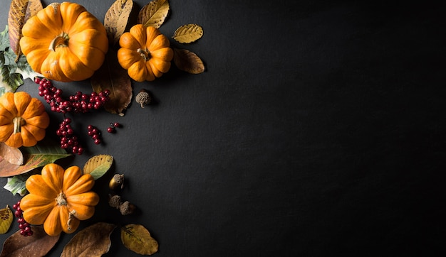 Autumn background decor from dry leaves and pumpkin