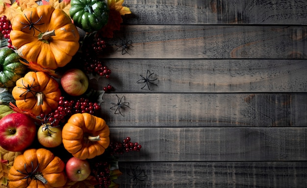 호박, 딸기, 빨간 사과 및 잎에서 가을 배경 장식