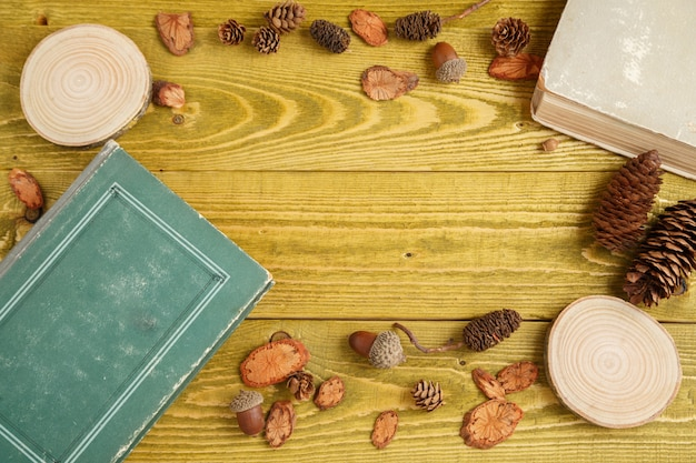 Autumn background. flat lay. wood, cones, acorns and vintage books on green grunge wooden background