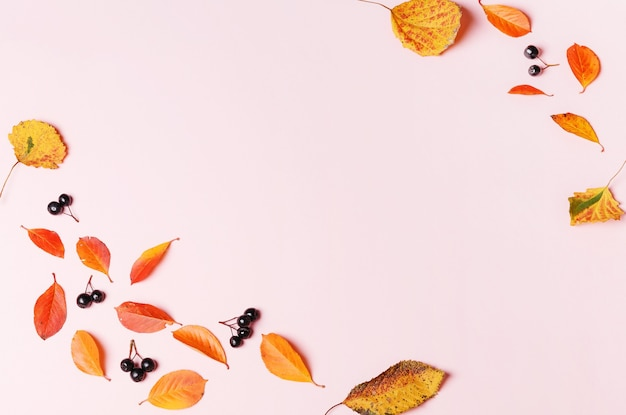 단풍과 분홍색 배경에 베리로 만든 가을 배경. 평평한 평지, 평면도, 복사 공간.