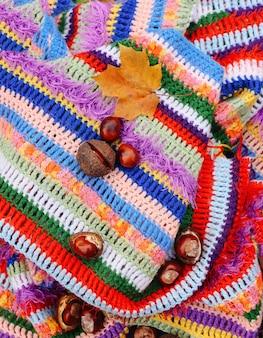 가 배경입니다. 뜨개질을 한 밝은 따뜻한 줄무늬 격자 무늬에 말 밤과 노란색 가을 단풍잎의 수직 구성.