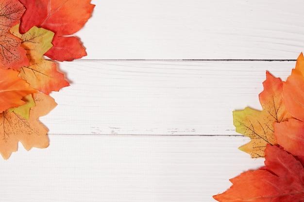 흰색 나무 판자에 단풍이 있는 가을 배경