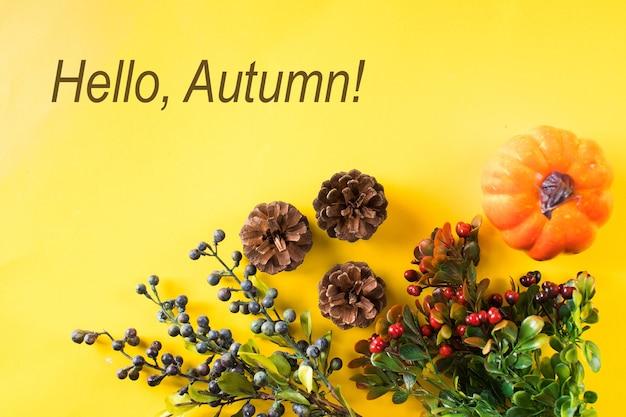 Осенний фон с шишками тыквы и осенними ягодами копией пространства