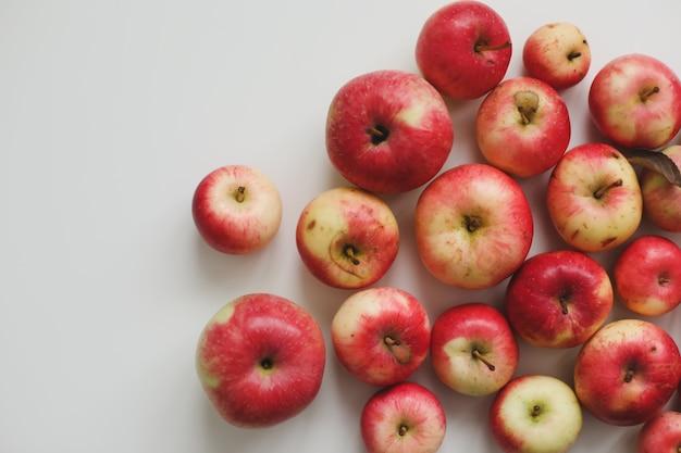 Осенний фон со свежими красными яблоками, изолированными на белом вид сверху с copyspace