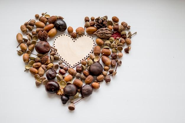 Осенний фон с сердцем, каштаны, орехи, арахис, желудь, копией пространства