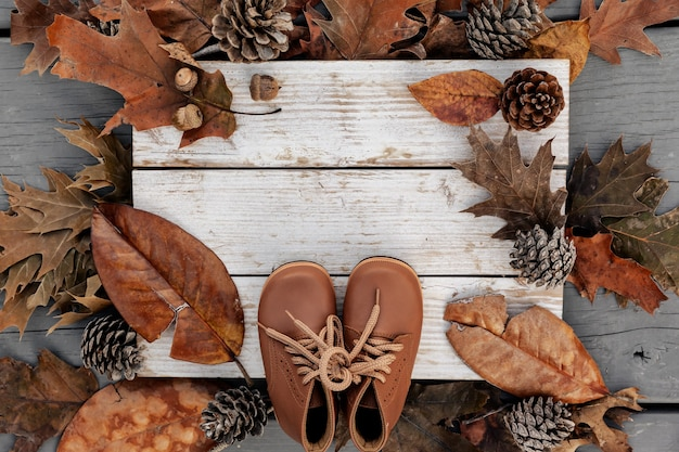 Autumn background with natural leaves, pine cones and leather shoes on aged wood with copy space, season holiday concept