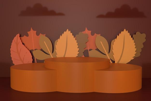 Осенний фон с подиумом 3d рендеринг иллюстрации