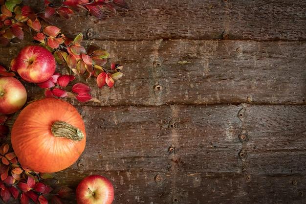 Осенний фон с тыквой, яблоки и ветви с разноцветными листьями на фоне естественной коры дерева.