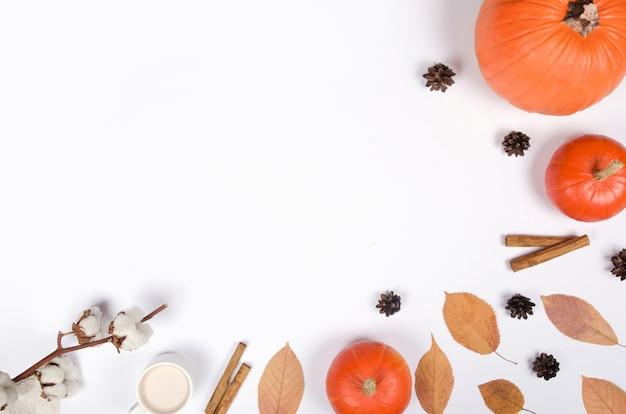 Осенний фон с тыквой, корицей и листьями на белом фоне