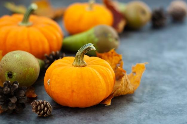 Autumn background with pumpkins on textured dark board.