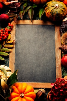 Autumn background with seasonal fruits, vegetables and leaves