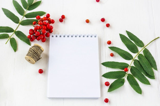 Autumn berries composition. bunch of rowan and notebook with space for text on a white wooden rustic background. concept of writing letter, wishes, goals, plans.