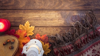 Autumn blanket and lantern composition