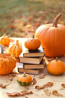 Autumn books. halloween books. stack of books and  pumpkins