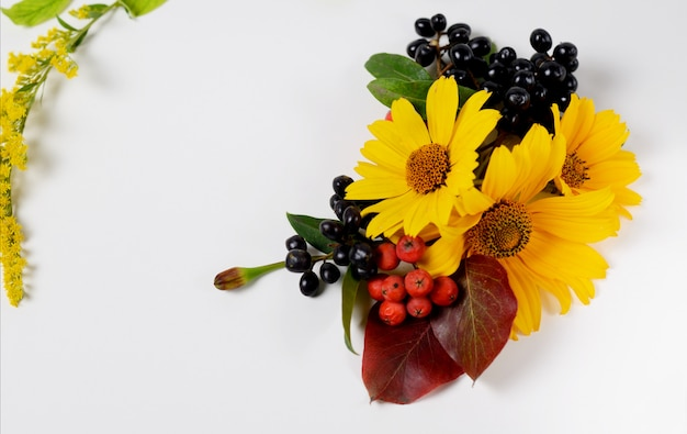 Autumn border. composition of vibrant red and yellow leaves on a white background.