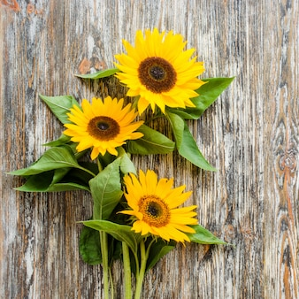 Autumn bouquet of yellow sunflowers on vintage textured wooden table.