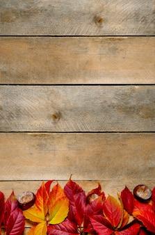 Осенние яркие желто-красные листья на деревянном.