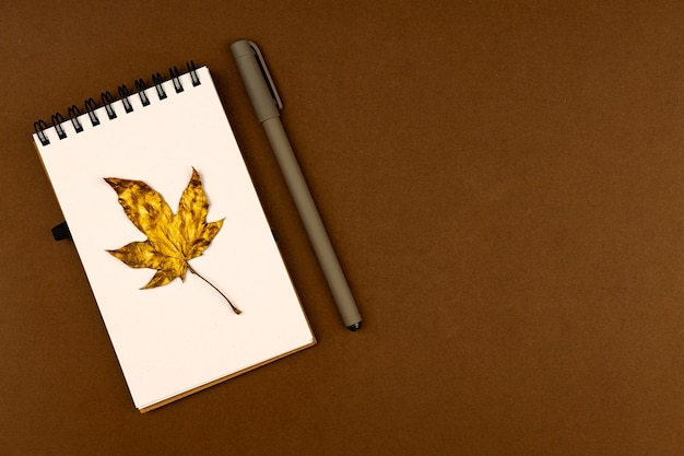 Autumn busines concept - blank ring-bound notebook with golden maple leaf and pen on brown background with copy space.