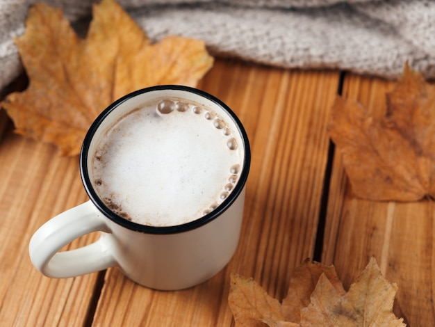 Autumn cappuccino with cinnamon on wooden table