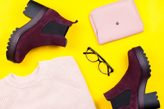 Autumn clothes and accessories flat lay