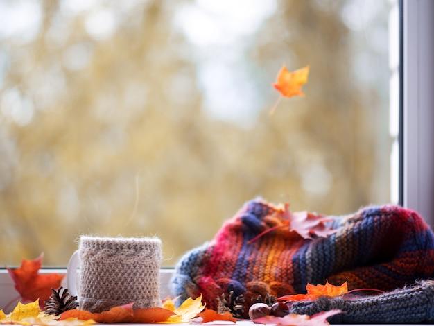 Autumn coffee on the window