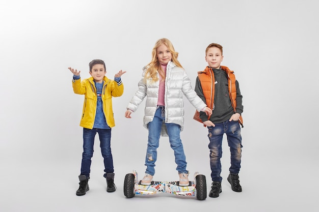 Autumn collection of warm clothes for children