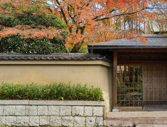 Осенний цвет японского сада в Киото, Япония