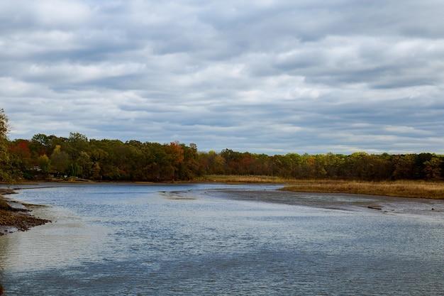 Осенний вид на воду заката. осенняя живописная природа с осенней рекой и пожелтевшими осенними деревьями на осеннем закате. водный живописный осенний пейзаж. применен мягкий фильтр.