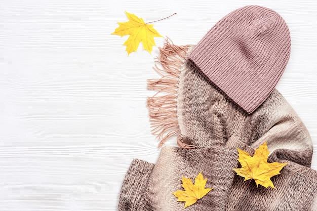 가을에 편안한 따뜻한 모직 스카프와 모자 및 장식 단풍