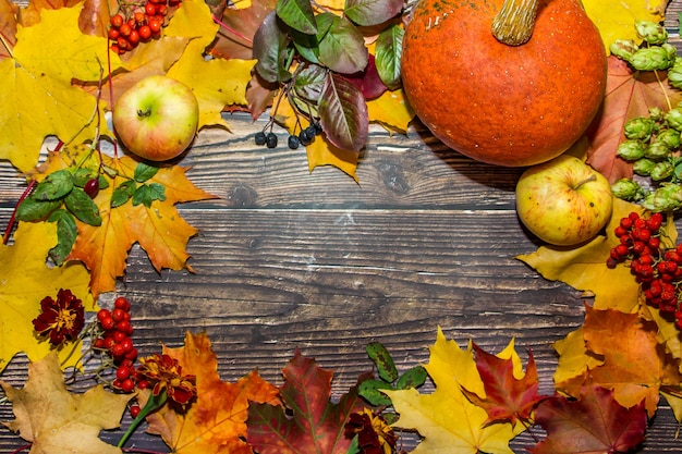 Autumn composition of apples, leaves, pumpkins on a dark brown wooden background.