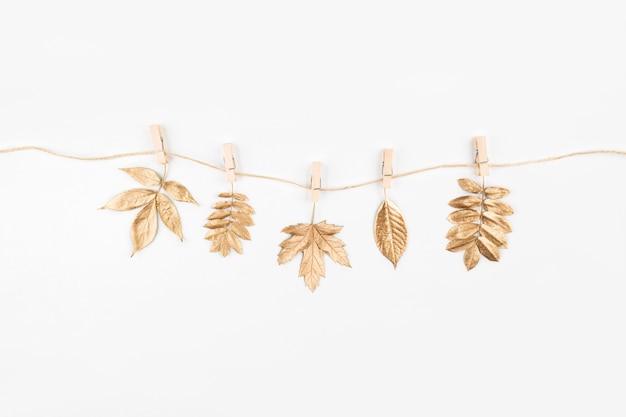 Осенняя композиция. осенние золотые листья на белом