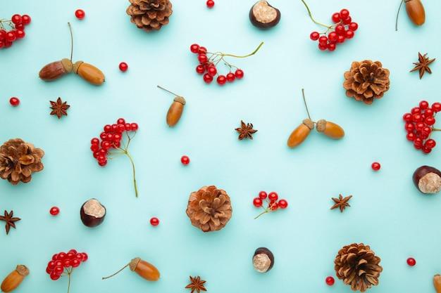가을 구성. 단풍과 옥수수, 솔방울, 아니스 스타. 평면 위치, 평면도, 복사 공간