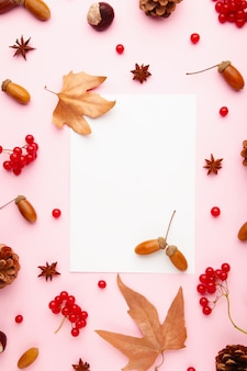 Autumn composition. autumn leaves and corn, pine cone, anise star. flat lay, top view, copy space