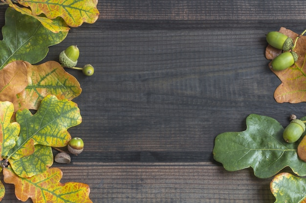 Autumn composition. border frame of colorful autumn leaves on a dark wooden background. top view, copyspace.