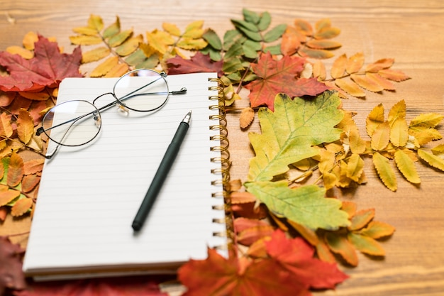 Осенняя композиция, состоящая из разноцветных листьев, окружающих тетрадь с ручкой и очками на деревянном столе