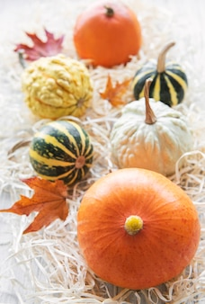 Autumn composition  cozy fall season  pumpkins and leaves on wooden background