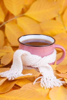 Autumn composition cup of tea wrapped in a scarf seasonal morning tea