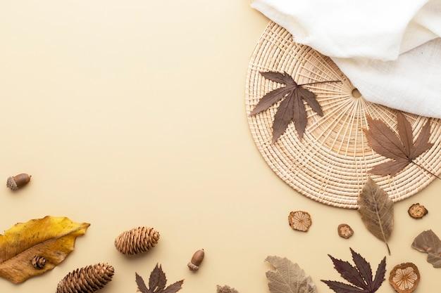 가을 구성, 말린 잎. 흰색 바탕에 목화 꽃과 솔방울. 평평한 평지, 복사 공간이 있는 평면도