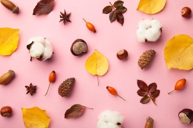 秋の構成。ピンクの背景に乾燥した葉、花、ベリー。感謝祭の日のコンセプト。フラットレイ、上面図、コピースペース