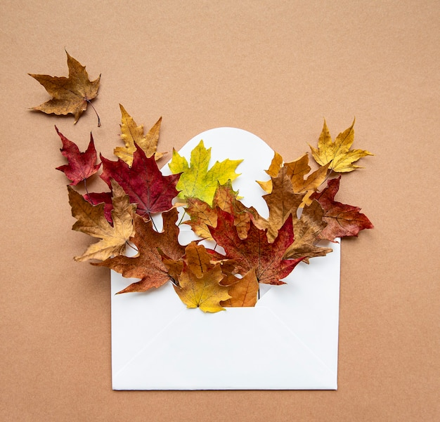 Autumn composition. envelope with dried leaves on pastel brown. autumn, fall concept. flat lay, top view.