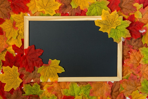 Autumn composition frame made of dried leaves