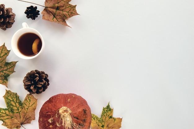 秋の構成。カボチャ、乾燥した葉、白い背景の上の松ぼっくりで作られたフレーム。テンプレート秋、秋、ハロウィーン、収穫感謝祭のコンセプト。フラットレイ、上面図、コピースペースの背景