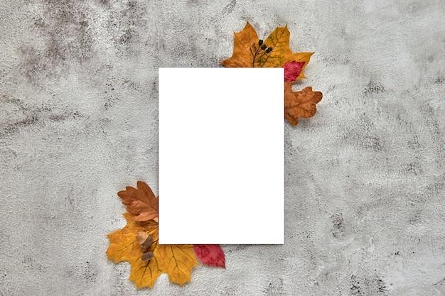 Осенняя композиция из желтых сушеных листьев и желудей на бетонном фоне. вертикальный чистый лист бумаги макета шаблона. осень, хэллоуин. плоская планировка, копия космического фона.