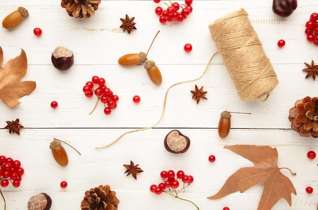 白地に秋の構図、松ぼっくり、どんぐり、栗で作られたフレーム。フラットレイ、上面図。
