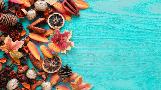 Autumn composition of organic products on wooden background