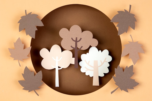 Autumn composition in paper style