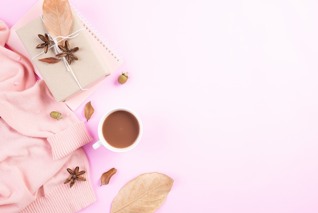 Autumn composition on pink pastel background. flat lay, top view copy space.