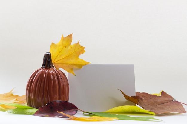 白の秋の構成カボチャと紅葉