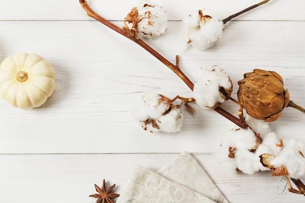 秋の組成物。小さな黄色のカボチャ、アニス、ホップ、綿の花の枝、上面図、白い木のクローズアップ。