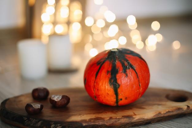Осенняя композиция концепция дня благодарения осенняя осень фон плоский вид сверху